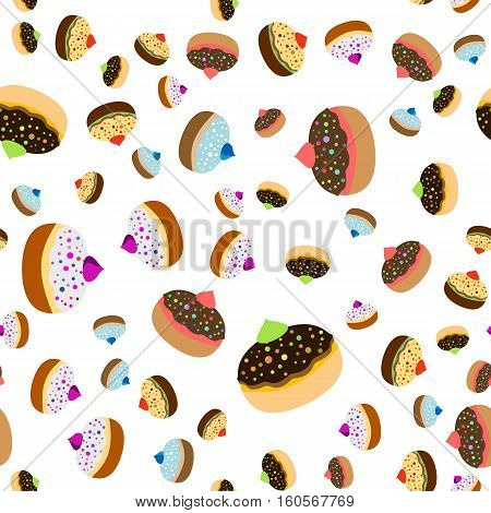 Seamless jewish pattern with colorful sufganiots for Festival of Lights Feast of Dedication Hanukkah on white background. Vector illustration