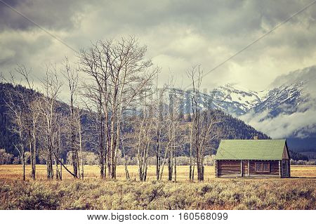 Retro Toned Old Abandoned Hut In The Grand Teton National Park, Usa.