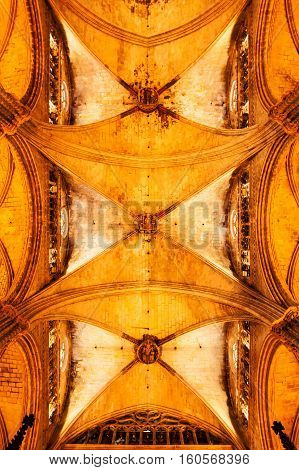 BARCELONA, SPAIN - AUGUST 25, 2016: Interior of Cathedral of the Holy Cross and Saint Eulalia