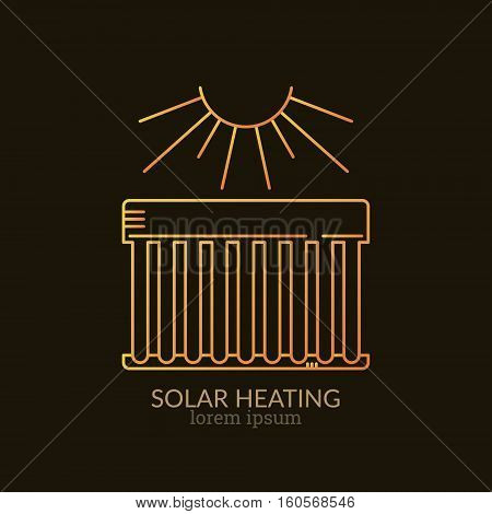 House Heating Single Logo. Illustration of Solar Collector made in trendy line style vector. Clean and Simple modern emblem for shop product or company. Perfect for your business.