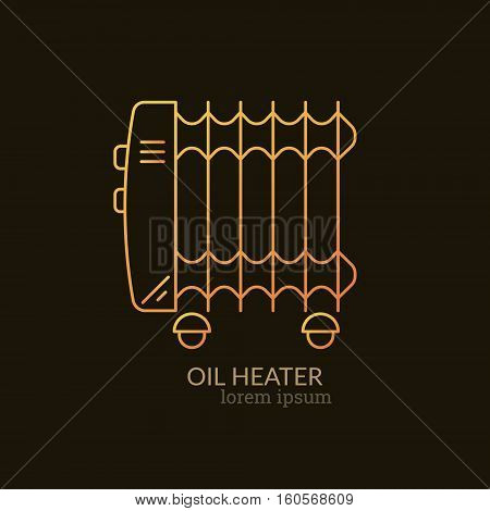 House Heating Single Logo. Illustration of Oil Heater made in trendy line style vector. Clean and Simple modern emblem for shop product or company. Perfect for your business.