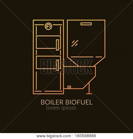 House Heating Single Logo. Illustration of Bio Fuel Boiler made in trendy line style vector. Clean and Simple modern emblem for shop product or company. Perfect for your business.