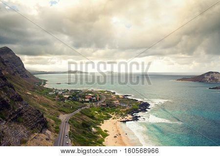 Aerial view of south shore of Oahu, Hawaii, known as Kaiwi Coast