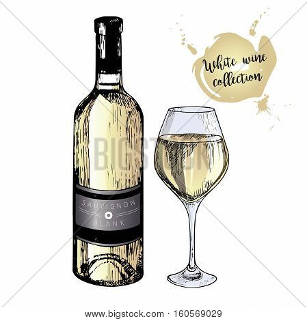 Vector set of white wine in engraved vintage style. Colored wine bottle and glass. Isolated on white background. Decorated with lettering and blot. Use for restaurant cafe store food menu design.