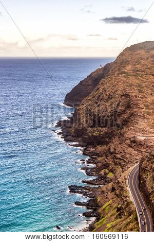 Aerial view of part of Oahu, Hawaii south shore with Makapuu Lighthouse in the distance