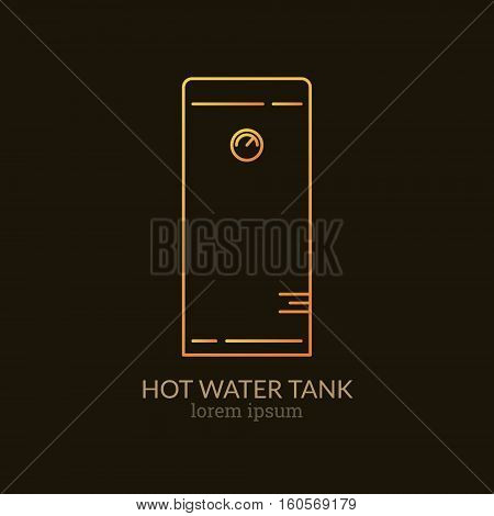 House Heating Single Logo. Illustration of Hot Water Tank made in trendy line style vector. Clean and Simple modern emblem for shop product or company. Perfect for your business.