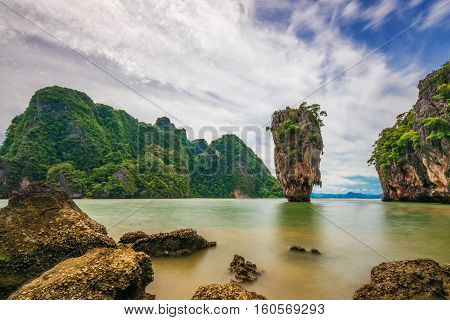 Long exposure of Khao Phing Kan, otherwise known as James Bond Island, in Phuket, Thailand