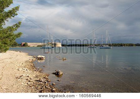 Sailboat in the morning sea / Adria, Croatia