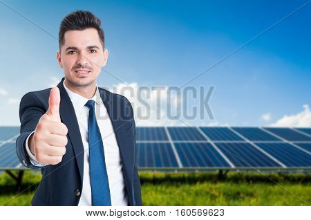 Young Businessman In Solar Power Station