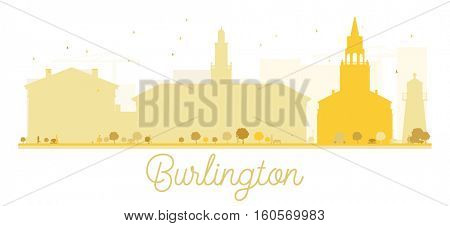 Burlington City skyline golden silhouette. Vector illustration. Simple flat concept for tourism presentation, banner, placard or web. Business travel concept. Cityscape with landmarks