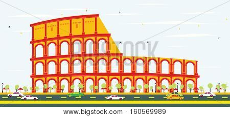 Colosseum in Rome. Vector Illustration.