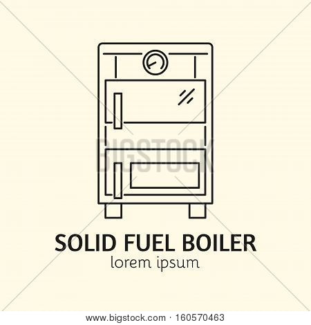 House Heating Single Logo. Illustration of Solid Fuel Boiler made in trendy line style vector. Clean and Simple modern emblem for shop product or company. Perfect for your business.
