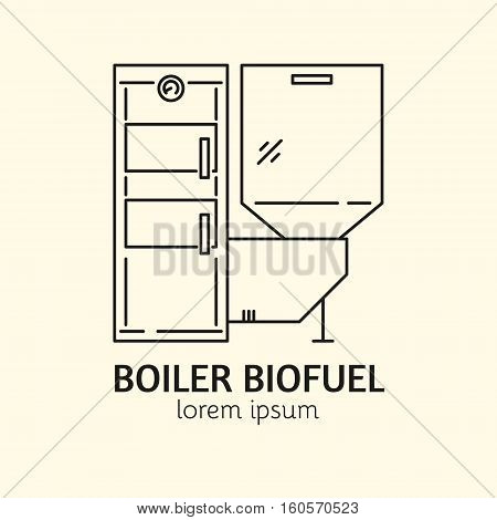House Heating Single Logo. Illustration of Boiler Biofuel made in trendy line style vector. Clean and Simple modern emblem for shop product or company. Perfect for your business.
