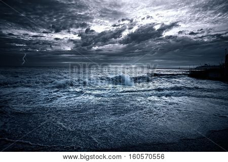 Yacht at the sea, comes nearer a thunderstorm