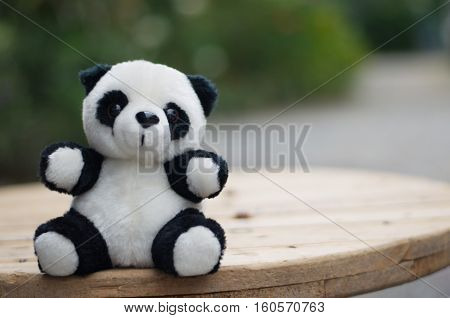 Doll. Panda. object and white stuffed panda. Dolls made of fabric for children.