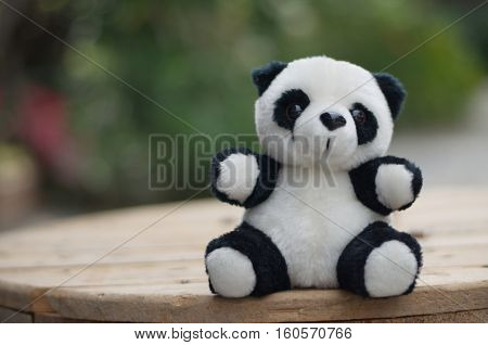 Doll. Panda. objectk and white stuffed panda. Dolls made of fabric for children.