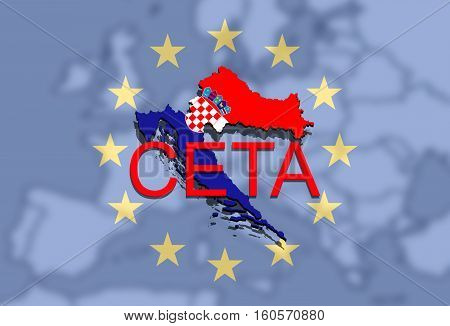 Ceta - Comprehensive Economic And Trade Agreement On Euro Union Backgound, Croatia Map