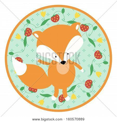 A cute little fox cub on a circular green background. Cartoon animal design for baby goods and things. Sticker for a photo shoot with cute little animals.