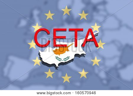 Ceta - Comprehensive Economic And Trade Agreement On Euro Union Backgound, Cyprus Map