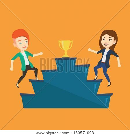 Two caucasian businesswomen competing to get golden trophy. Two competitive businesswomen running up for the winner cup. Business competition concept. Vector flat design illustration. Square layout.