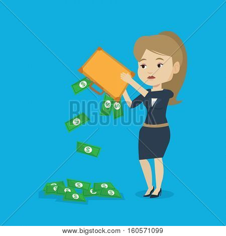 Depressed caucasian female bankrupt shaking out money from her briefcase. Despaired bankrupt business woman emptying a briefcase. Bankruptcy concept. Vector flat design illustration. Square layout.