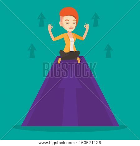 Caucasian business woman doing yoga on a mountain with arrow going up. Peaceful business meditating in yoga lotus pose. Woman sitting in yoga lotus pose. Vector flat design illustration. Square layout