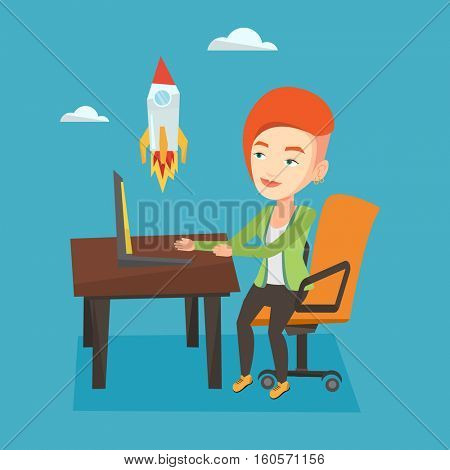 Caucasian businesswoman looking at business start up rocket. Young businesswoman working on business start up. Business start up concept. Vector flat design illustration. Square layout.