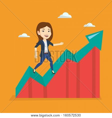 Smiling business woman standing on profit chart. Caucasian successful business woman running along the profit chart. Concept of business profit. Vector flat design illustration. Square layout.