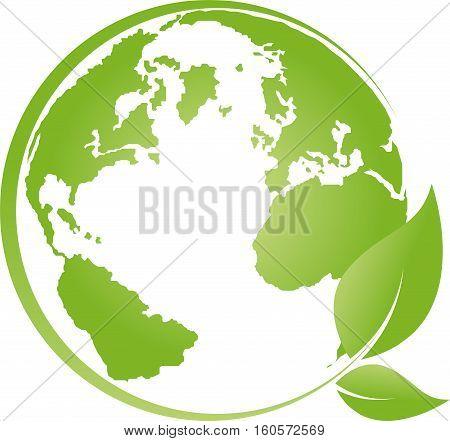 Earth and leaves, globe, world globe, vector