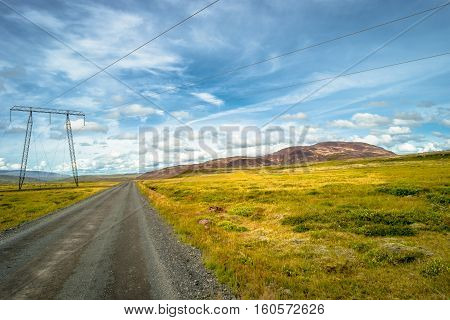 Isolated Road And Icelandic Landscape At Iceland, Summer