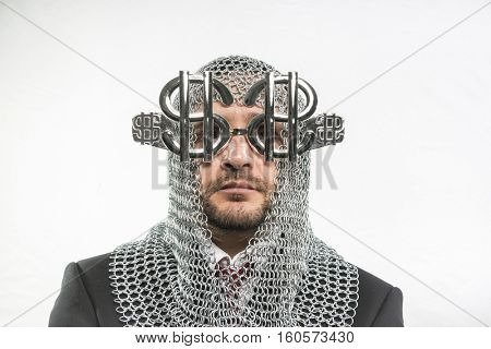 Money Payday, man with medieval chain mail and dollar-shaped glasses