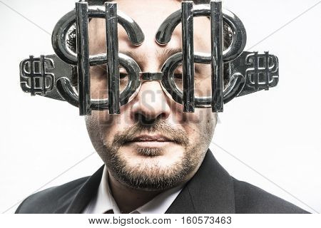 Rich, Greed and money, businessman with dollar-shaped glasses, elegant tie suit
