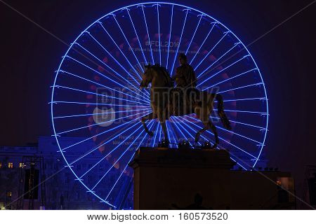 Lyon, France, December 7, 2016 : Big Wheel In Bellecour. The Festival Of Lights (french: Fete Des Lu