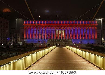 Lyon, France, December 7, 2016 : Foot Bridge To The Palais De Justice. The Festival Of Lights (frenc