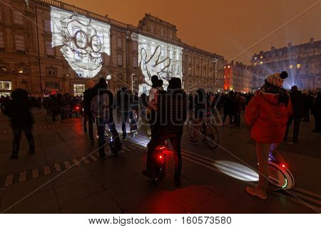 Lyon, France, December 7, 2016 : Lights On Place Des Terreaux. The Festival Of Lights (french: Fete