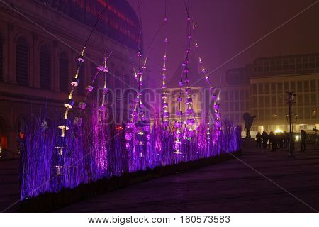 Lyon, France, December 7, 2016 : Light Boat On Place Pradel And The Opera. The Festival Of Lights (f