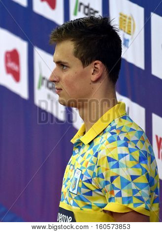 Hong Kong China - Oct 29 2016. The winner ROMANCHUK Mykhailo (UKR) at the Victory Ceremony of the Men's Freestyle 400m. FINA Swimming World Cup Victoria Park Swimming Pool.