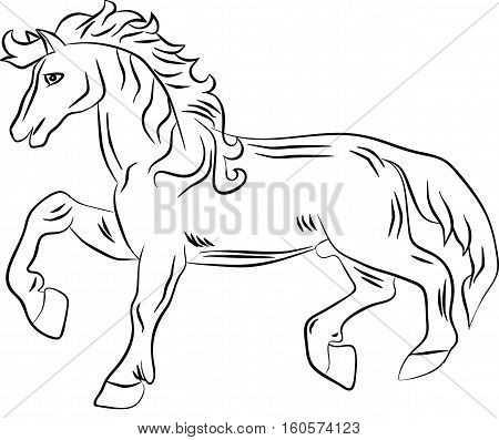 Silhouette of a horse with a raised leg. Vector image