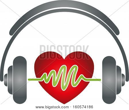 Headphones and heart, colored, music and sound logo