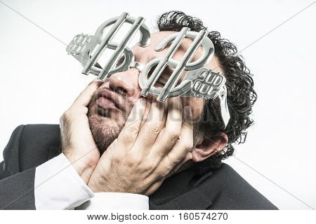 Greed and money, businessman with dollar-shaped glasses, elegant tie suit poster