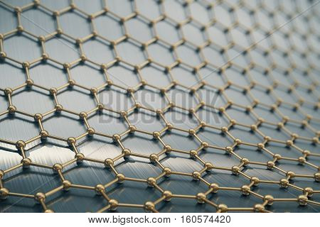 3d rendering gold nanotechnology hexagonal geometric form close-up, concept graphene atomic structure, concept graphene molecular structure.