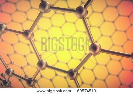 3d rendering orange nanotechnology, hexagonal geometric form close-up, concept graphene atomic structure, concept graphene molecular structure.