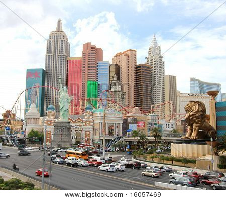 A busy Las Vegas Boulevard and Tropicana