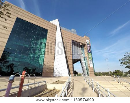 BEER SHEVA ISRAEL - DECEMBER 06 2016: Modern building of Municipal Theatre in high-tech style