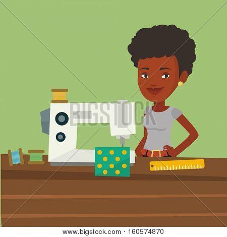 African-american seamstress working in a cloth factory. Seamstress sewing on an industrial sewing machine. Seamstress using sewing machine at workshop. Vector flat design illustration. Square layout.