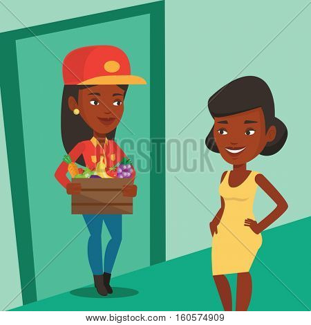 An african-american delivery courier delivering online grocery shopping order. Young woman receiving grocery products from delivery courier at home. Vector flat design illustration. Square layout.
