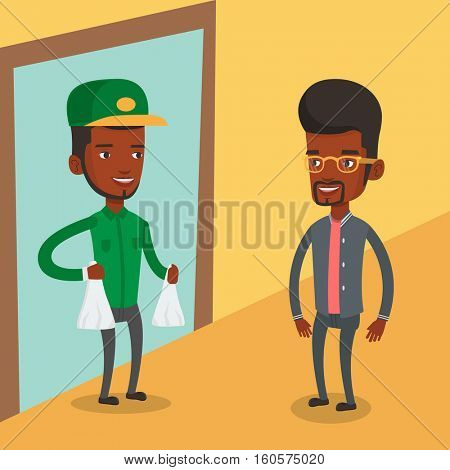 African delivery man delivering online shopping order. Man receiving packages with groceries from delivery courier. Man delivering groceries to customer. Vector flat design illustration. Square layout