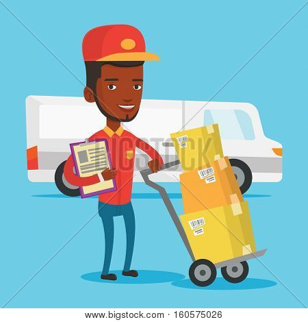 An african-american delivery courier with cardboard boxes on troley. Young delivery courier holding clipboard. Courier standing in front of delivery van. Vector flat design illustration. Square layout