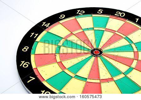 Dart board on white background, score, eye, bullseye, center,