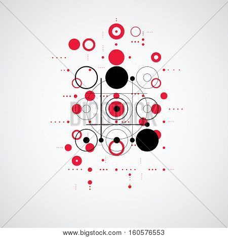 Bauhaus Retro Wallpaper, Art Vector Red Background Made Using Grid And Circles. Geometric Graphic 19